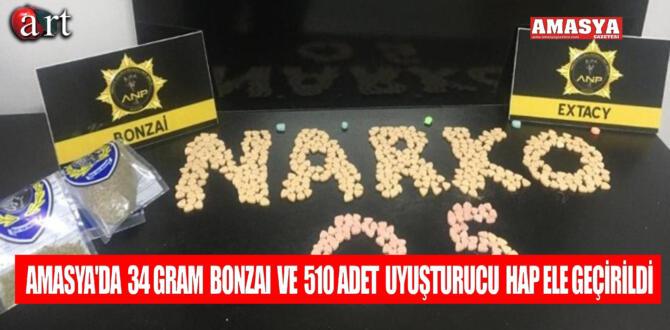 Amasya'da 34 gram bonzai ve 510 adet uyuşturucu hap ele geçirildi