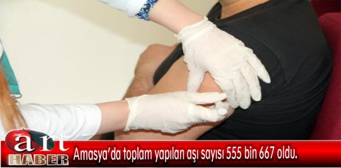 Amasya'da toplam yapılan aşı sayısı 555 bin 667 oldu.